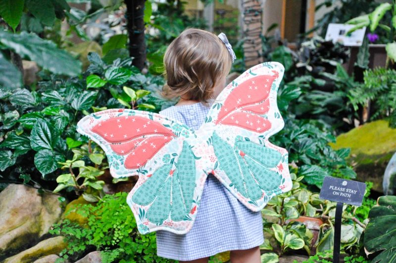 toddler wearing butterfly wings in botanical gardens