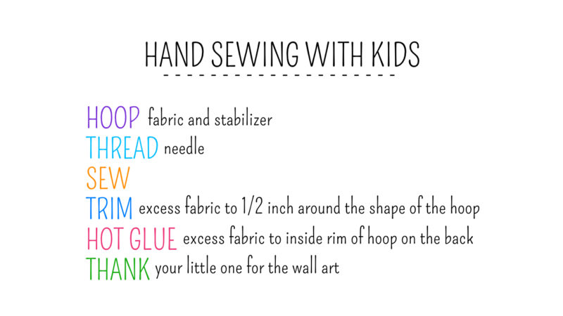 hand sewing with kids how to steps